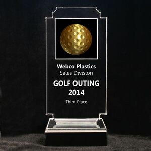 "Acrylic and Marble Engraved Award - 6-3/4"" Full-Color Gold Golf Ball Panel"